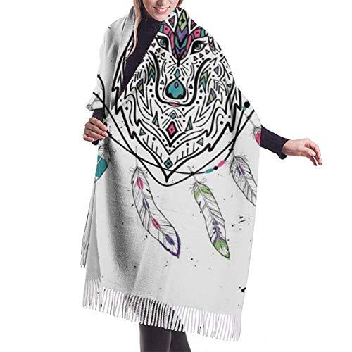 Tengyuntong Bufanda de mantón Mujer Chales para, Lobo salvaje tribal con plumas boho bufanda de cachemira para mujeres hombres ligeras de gran tamaño moda suave invierno bufandas flecos chal envuelve