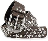 styleBREAKER cinturón de remaches con estrellas y tachuelas en estilo «vintage», acortable 03010030, tamaño:95cm, color:Marrón oscuro