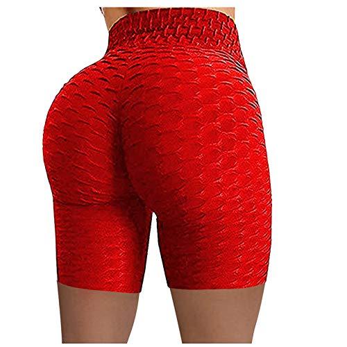 EOGE Pantalones de yoga para mujer, cintura alta arrugada, elástica, para correr, fitness, yoga, pantalones cortos para motociclista