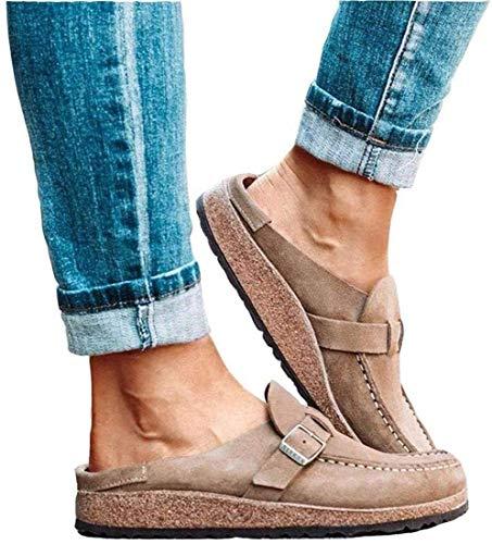 Foanerwi Sandalias De Mujer Zuecos Cómodos Casuales Sandalias De Gamuza Sin Cordones Zapatos De Mocasín Planos De Verano Zapatillas De Andar con Punta Cerrada Zapatos De Señora,D,39