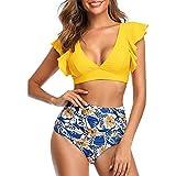 Traje De Baño para Mujer Bikini De Volantes De Cintura Alta De Dos Piezas Trajes De Baño Vintage Lindos,A-Yellow,M