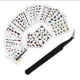 LINVINC Decorativas Pegatina de Uñas - Marca de Agua Pegatinas Para Decoración de Uñas Diseño de Uñas Kit de Herramientas 50 Hojas/Set+1 Pinza Para Mujeres y Niñas