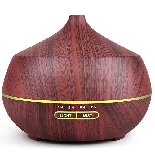 Humidificador difusor de aroma de aromaterapia de 400 ml, niebla fría ajustable ultrasónica, apagado automático sin agua y LED de 7 colores
