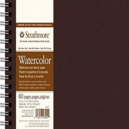 Strathmore (441-7 400 Series Wirebound Watercolor Art Journal, 10'x7', 30 Sheets