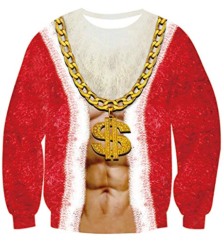 Uideazone Men Women Ugly Christmas Lit Santa Christmas Tee Shirt Funny X-mas Gift Clothes Top for Family Couples