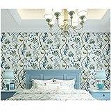 Papel pintado vintage floral sofá fondo de pared que cubre papel pintado idílico para dormitorio azul