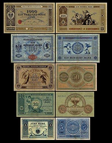 *** 5,20,50,100,1000 Reichskassenschein/Banknoten 1874 - 1876 - Pick 1-2-3-10-11 - Reproduktion ***