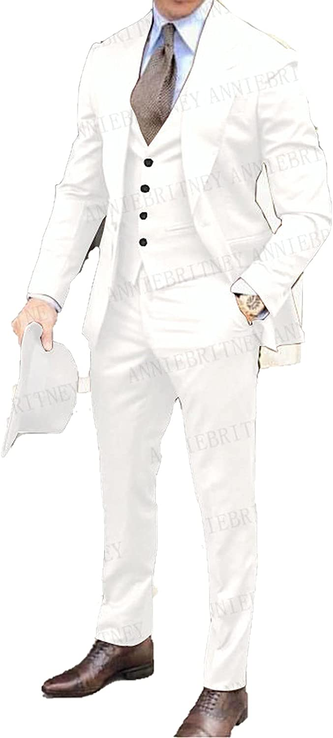 2020 Recommended OFFicial store Brown Classic Men Suit 3 Wedd Lapel Pieces Groomsmen Tuxedo