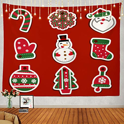 Shrahala Christmas Tree Tapestry, Holiday Christmas Santa in Pink Wall Hanging Large Tapestry Psychedelic Tapestry Decorations Bedroom Living Room Dorm