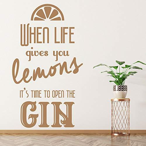 XCSJX Wenn das Leben Ihnen Zitronen inspirierende Zitate Wandtattoos gibt Gin Fenster Aufkleber Schlafzimmer Restaurant Bar Dekoration57x32cm öffnen