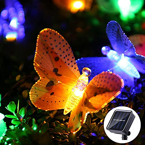 Outdoor Solar String Lights - 12 LED Solar Butterfly Fairy Lights - Solar Multi-Colour Waterproof Lighting - 2 Modes Indoor Decorative Lamp for Outside Garden Patio Lawn Yard Tree Home Bedroom