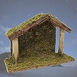 BANBERRY DESIGNS Belén con detalles de madera y musgo – Establo de madera de 16,5 cm de altura para belén – Navidad santa familia natividad set accesorio