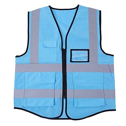 Liukouu Chaleco reflectante multicolor Chaleco de seguridad de seguridad(Azul)