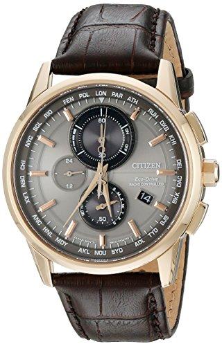 Citizen Relógio masculino Eco-Drive World Cronógrafo A-T, aço inoxidável com pulseira de couro, tecnologia, marrom (modelo: AT8113-04H)