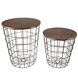 Lavish Home 80-ENDTBL-2 (Set of 2) Nesting End Storage Convertible Round Metal...