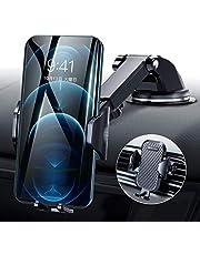 【令和進化版】DesertWest 車載支架 單手操作 2in1 智能手機支架 粘膠吸盤&空調出風式兼用 智能手機支架 車 便攜支架 iphone 車載支架 安裝簡單 360度旋轉 伸縮臂 一鍵式 翻蓋式殼 對應自由調節 /附帶日語說明書 / 4-7英寸對應全部機型 iPhone/Samsung/Sony/LG/Huawei 等 (黑色)
