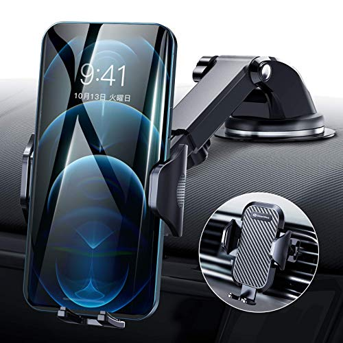 DesertWest Car Holder, One Hand Operation, 2 in 1 Smartphone Holder, Adhesive Gel Suction Cup & Air Vent Type, Smartphone Stand, Car, Mobile Holder, iPhone Car Holder, Easy to Install, 360° Rotation, Telescopic Arm, One Touch, Notebook Type Case, Free Adjustment, Japanese Instruction Manual Included (English Language Not Guaranteed), Compatible with All 4 - 7 Inch Models, iPhone, Samsung, Sony, LG, Huawei etc.