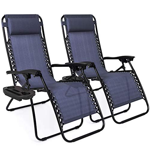 Best Choice Products Set of 2 Adjustable Zero Gravity Lounge Chair Recliners for Patio, Pool w/Cup Holders - Blue