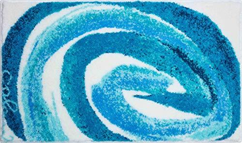Grund Alfombra de Baño de Diseño COLANI, Ultra Suave y Absorbente, Antideslizante, 5 Años de Garantía, Colani 42, Alfombra de Baño 60x100 cm, Turquesa