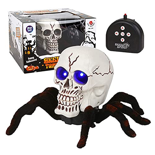 Remote Control Animal, Halloween Spider Prop Remote Control Horror Scary Skull Spider met Glowing Blue Eyes Cosplay Party Prop Supplies voor Halloween Party