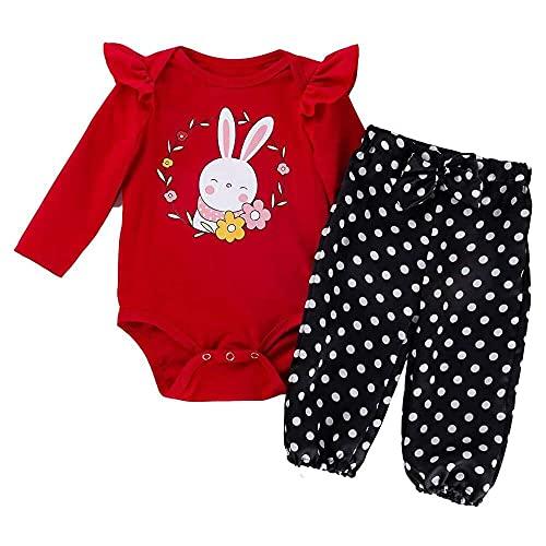 junmo shop Conjunto de 2 piezas para recién nacidos de manga larga, conejito de Pascua, manga voladora, mameluco + pantalones de lunares