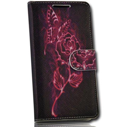 Handy Tasche Hülle book für Huawei Ascend Y530 / Hülle Etui Handytasche Schutzhülle Pink Rose