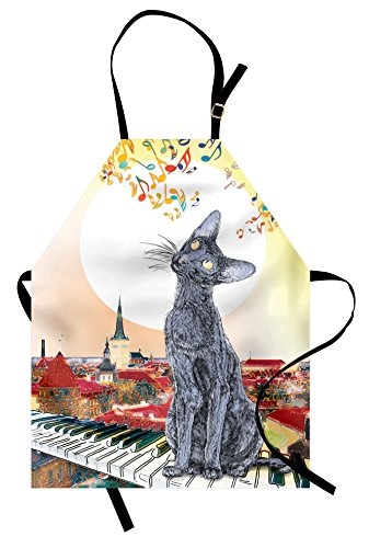 Lunarable Cat Apron, City Skyline with Moonlight Kitty Singing on Roof Music Notes and Piano in The Night, Unisex Kitchen Bib with Adjustable Neck for Cooking Gardening, Adult Size, Paprika Cream