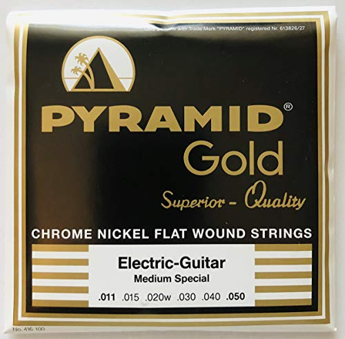 Pyramid Gold Chrome Nickel Flat Wound Electric Guitar Strings 11-50