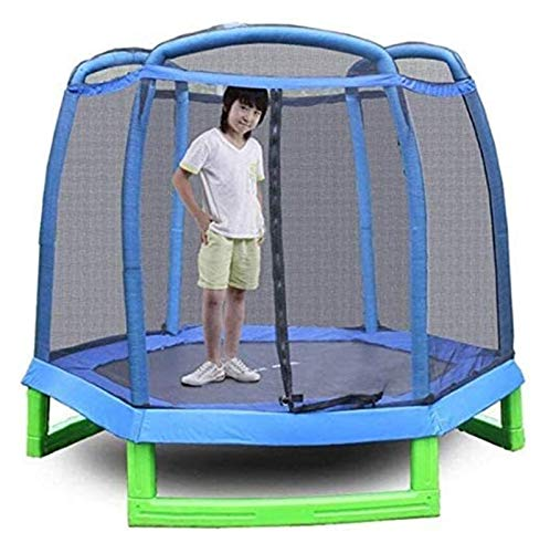HLZY Toddler Trampoline with Enclosure - Folding Kids Trampoline with Safety Enclosure Net Great Outdoor Backyard Trampoline 214X214x180cm