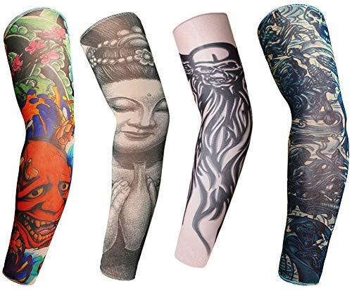LL-COEUR Manchette Temporaire Faux Tatouages Tattoo Bras Unisexe Sleeve Mode Sun Block Sleevelet Cool 4 Pcs(7)