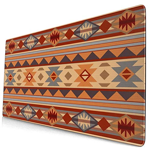 Extended Gaming Mouse Pad Native Southwestern Design Tan Gray Brown American for Men Durable and Smooth Foldable Mouse Pads with Non-Slip Backing and Durable Bundle Stitched Edges, 29.5 x 15.8 Inches