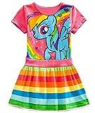 LEMONBABY My Little Pony Dress Colorful Striped Cartoon Girls Dress (6t, Red)