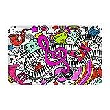 FOURFOOL Alfombrillas de Baño,Collage de Fondo de música Abstracta con Fondo de Instrumentos Musicales,Alfombra de baño de Antideslizante Absorbente Tapete para el Piso Lavable a Máquina