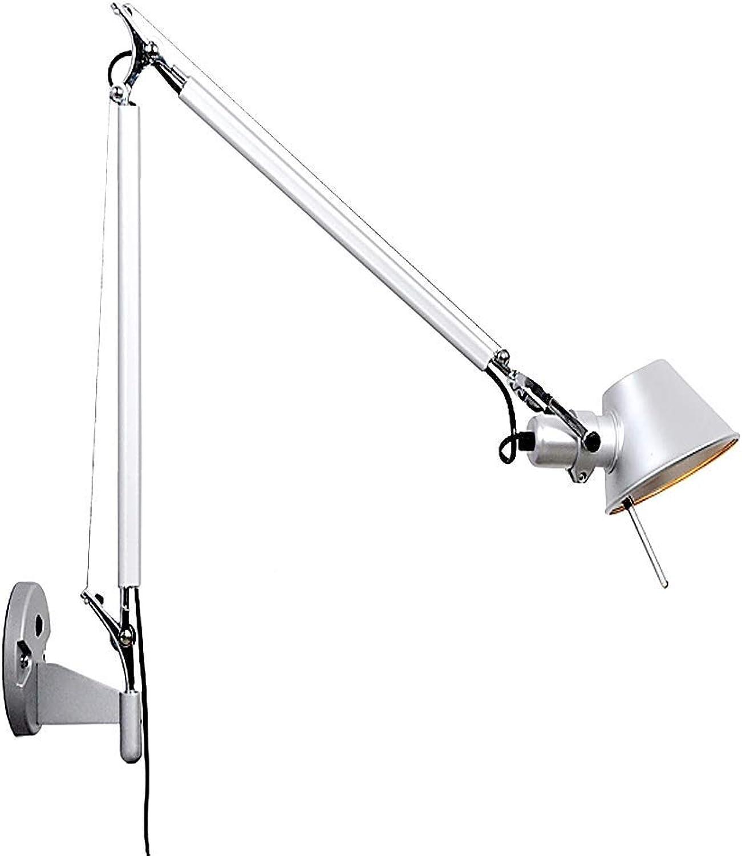 BYDXZ   Wandleuchte mit Beleuchtung Lange Schwenkarm-Wandlampen Verstellbar mit Pole-Silber -