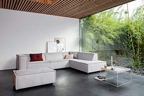 By SIDDE Sommer Ecksofa Rechts Skandinavisches Design mit Fleckengarantie und 30 Tage Probesitzen (Pure 809 Silver Grey)