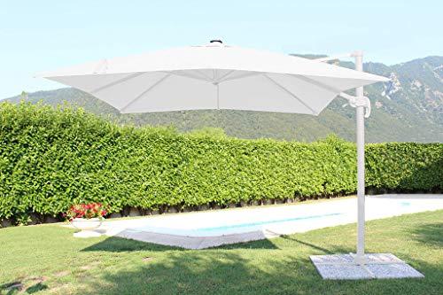 Milani Home s.r.l.s. Ombrellone 3 x 4 da Giardino Luce incorporata con palo decentrato Laterale a Braccio Dotato di LED Colore Bianco