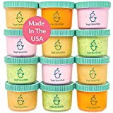 SAGE SPOONFULS Leakproof Baby Food Storage, 12 Container Set, 60 Labels Included, BPA Free Plastic Jars with Lids, 4oz Snack Container, Freezer, Microwave, Dishwasher Safe, Made in The USA