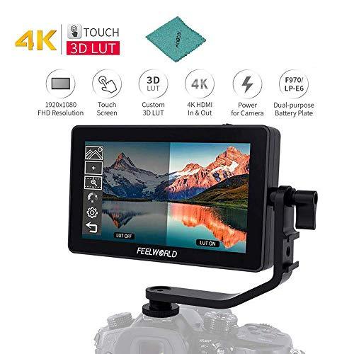 FEELWORLD F6 Plus 5,5-Zoll-Feldmonitor-Kit f¨¹r die Kamera unterst¨¹tzt 4K HD 1920 * 1080 Pixel HD IPS-Touchscreen f¨¹r Canon Sony Nikon DSLR-Kamera-Camcorder f¨¹r DJI Zhiyun Feiyu Gimbal Stabilizer