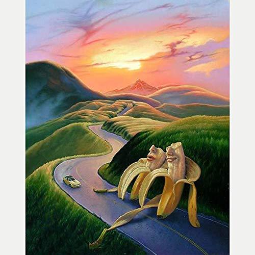 DIY 5D Diamante Pintura Completo Kits Pinturas por Numeros, Bordado Punto de Cruz Manualidades Hombre plátano alpino Art para Decoración de Pared del Hogar Regalos para adultos y niños 30 * 40cm