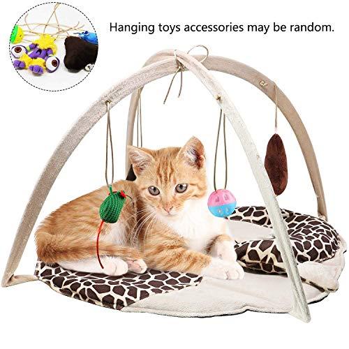 VAMEI Katzenspielzeug, Katze Spielmatte Bett mit 4 Hängenden Spielzeug Bell Balls Crinkle Spielzeug für Katzen Kätzchen