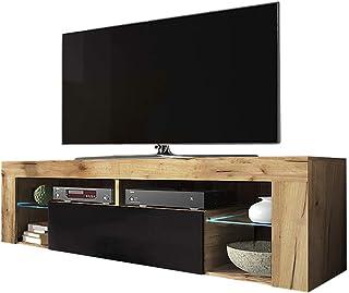 Selsey Bianko - Mueble para TV / mueble para TV en aspecto de madera con solapa y pie de iluminación LED, roble Lancaster...