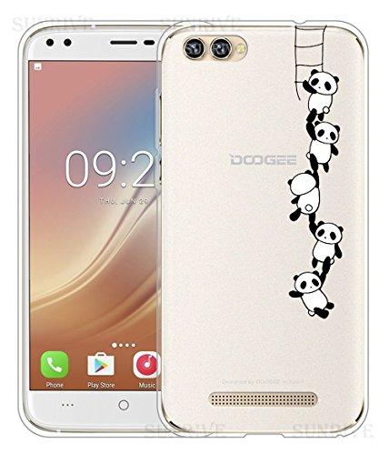 Sunrive Für DOOGEE X30 Hülle Silikon, Handyhülle Schutzhülle Etui Hülle Backcover für DOOGEE X30(TPU Panda 1)+Gratis Universal Eingabestift