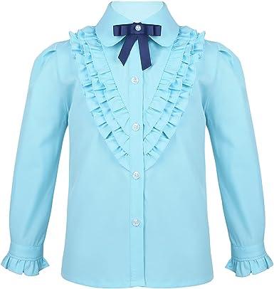 MSemis Camisa de Vestir para Niñas Blusa Manga Larga con Volantes Camisa Elegante para Traje Bautizo Ceremonia Comunión
