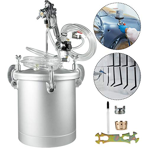 VEVOR 2.5 Gallons Pressure Pot Tank 10L Pressure Paint Pot Feed Spray Gun 1.5mm Nozzle Paint Sprayer for 10L Capacity Painting