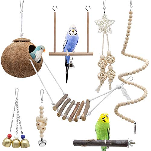Yue Juguete para loros de pájaros, 7 unidades, coco, jaula con escalera, para colgar, escalera, escalera, escalera torcida, madera para masticar, campanas para periquitos, conuros, aras, pinzones.
