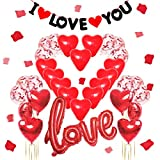 Lishang Decoración Romántica Love Globos Corazon Rojo Globos Papel Aluminio con 1000 Piezas Pétalos Rosas Banners para Bodas Decoration San Valentín Aniversario (rojo)