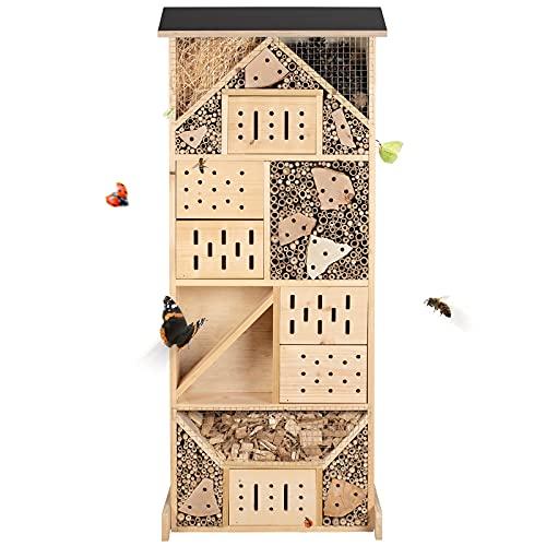 Gardigo Insektenhotel XXL Made in Germany, Hergestellt in einer sozialen Einrichtung | Insektenhaus für den Garten | Nisthaus für Wildbienen, Florfliegen, Marienkäfer und Schmetterlinge, aus Holz