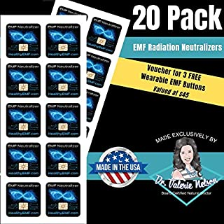 Cell Phone EMF Protection Radiation Neutralizers + Free $45 Voucher for 3 EMF Protection Buttons - Slim Design - Proudly Made in The USA - 5, 10 or 20 Pack - Developed by Dr. Valerie Nelson