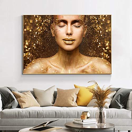 hetingyue Charmantes goldenes nacktes Frauengesicht, Lippen gemalt auf Leinwandplakaten und Drucke auf skandinavischen Wandkunstbildern 50x75cm