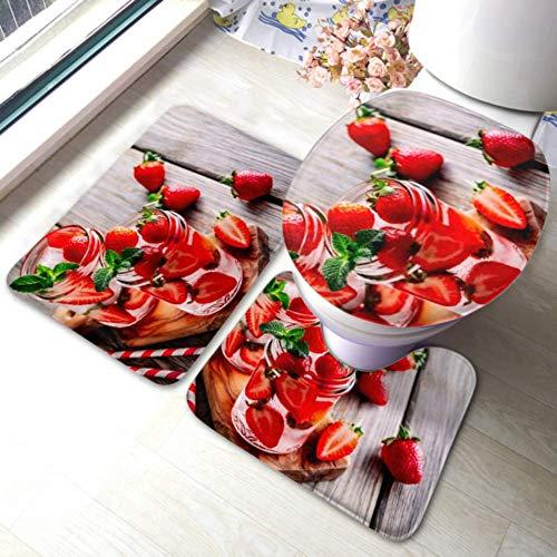 XHYYY WC-Teppich-Set Hibiskus-Erdbeer-Rhabarber-Eistee Minze rutschfeste Badezimmerteppich-Matten-Sets , WC-Pad-Abdeckung Badematte und WC-Deckelabdeckung